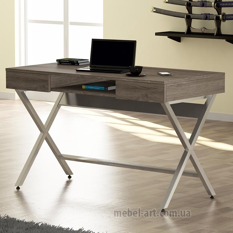 стильный офисный стол прямой, дизайн Loft, два выдвижных ящика