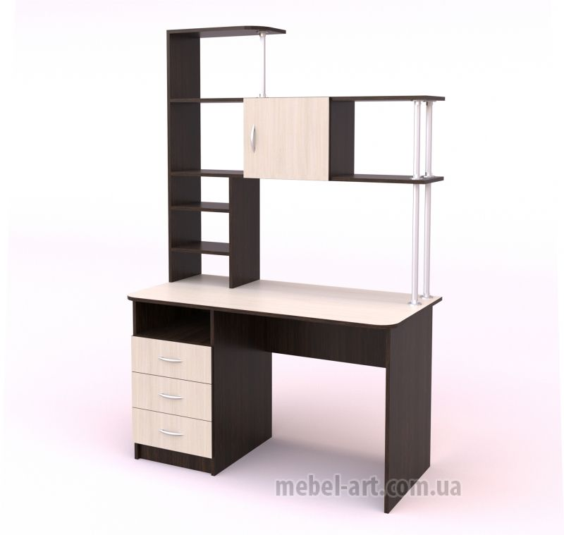 письменный стол со встроенным пеналом, выдвижными ящиками и открытыми полками, современный дизайн, цвет Бук