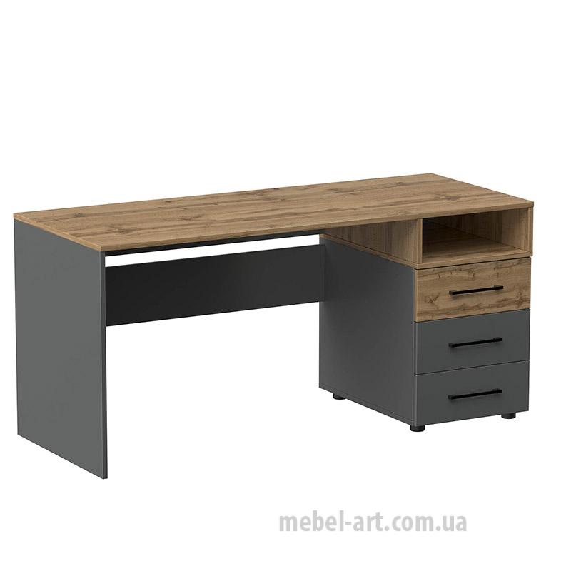 офисный стол прямой с выдвижными ящиками, цвет дуб тахо/графит