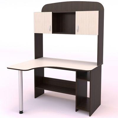 угловой письменный стол, есть открытые и закрытые полки, подставка под системный блок